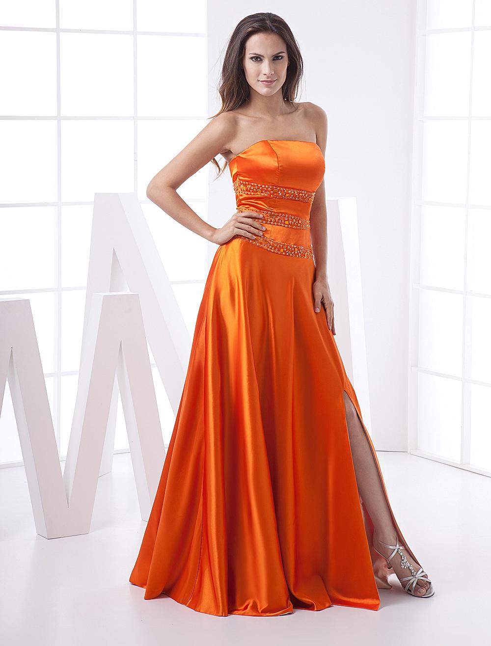 Long Prom Dresses Orange Red Strapless Formal Evening