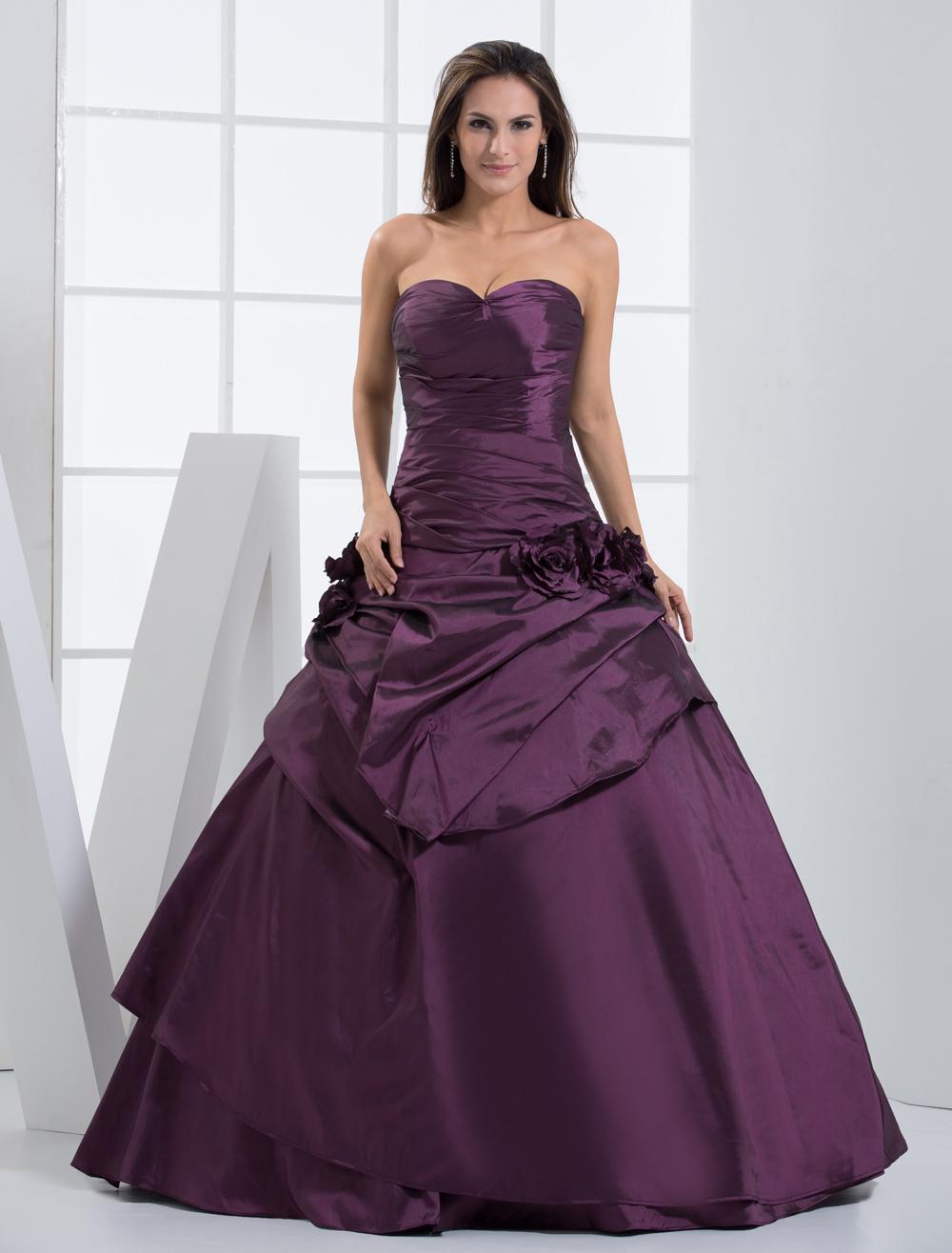 Vestidos de fiesta de Prom de tafetán plisado de color morado con ...
