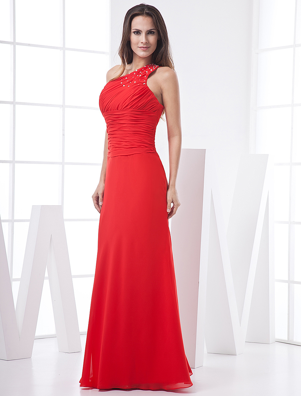 Red Sheath Beading One-Shoulder Floor-Length Chiffon Evening Dress with Ruched Bodice and Waistband