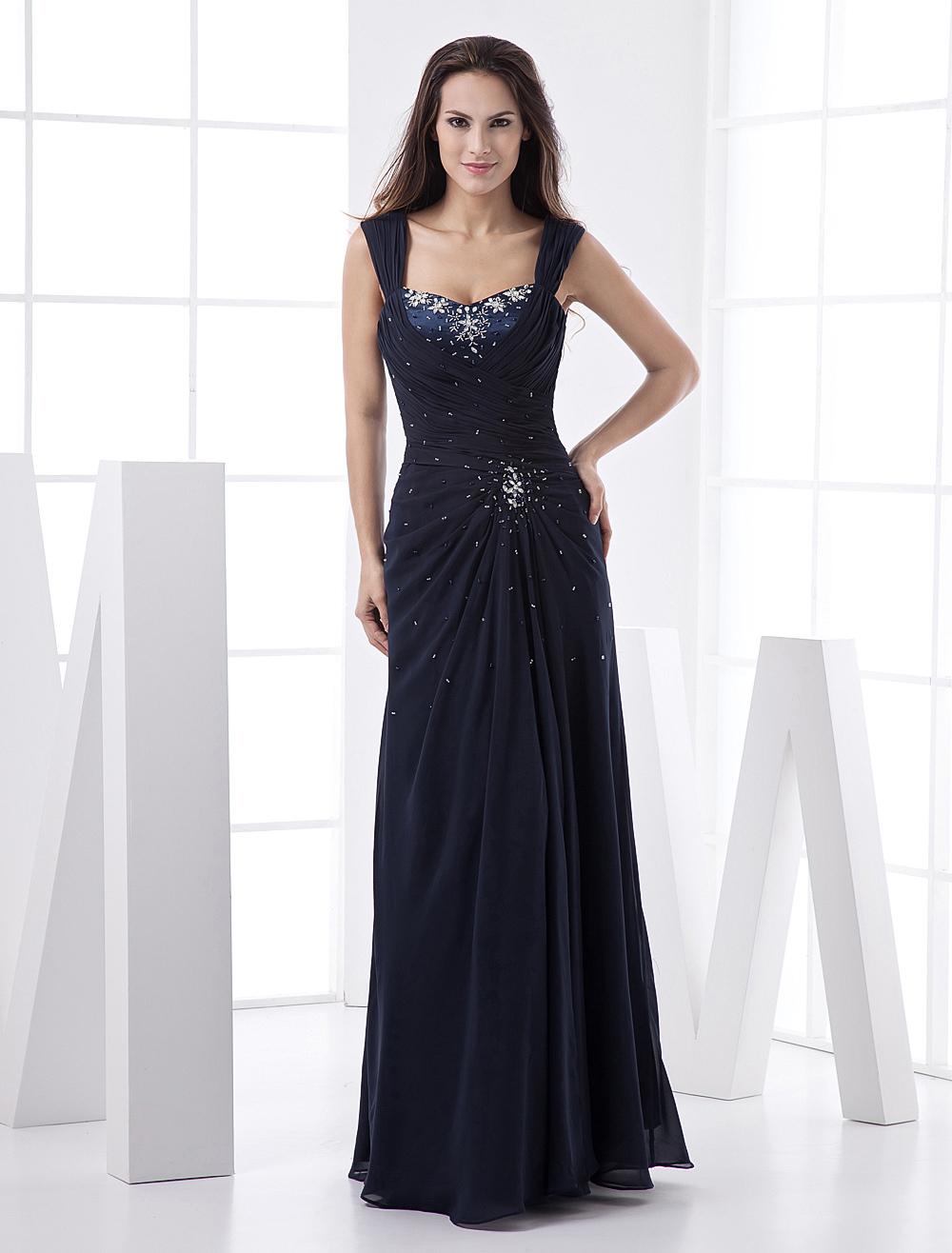 Dark Navy Split Front Ruched Chiffon Prom Dress for Women