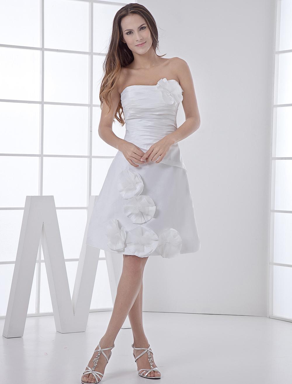 White Wedding Dress Knee Length Strapless Flowers Ruched Taffeta Wedding Gown