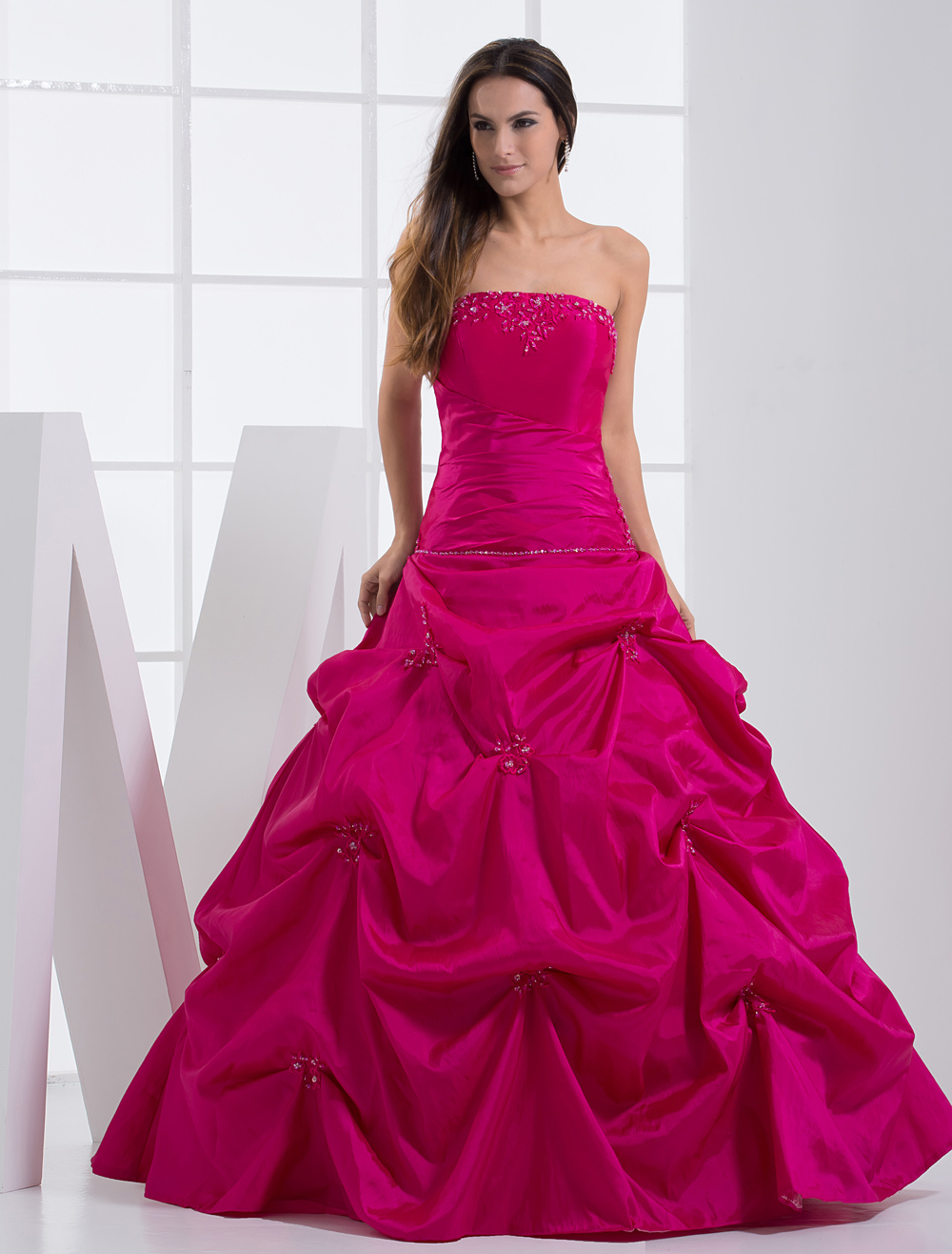 Buy Strapless Applique Beading Taffeta Ball Gown Dress for $153.89 in Milanoo store