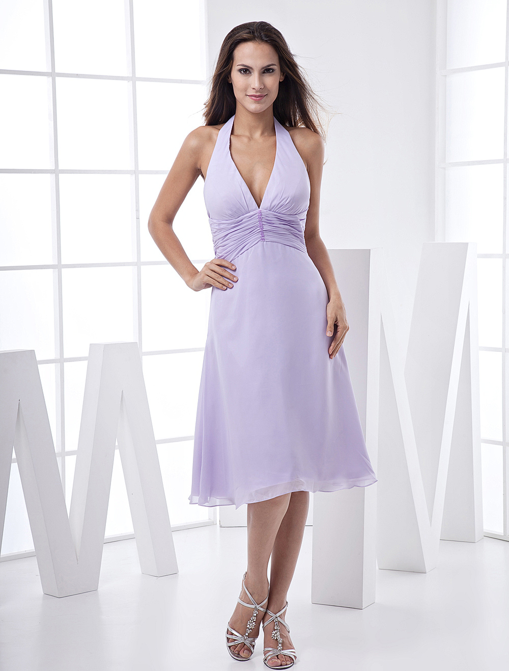 V-Neck Backless Satin Chiffon Summer Prom Dress