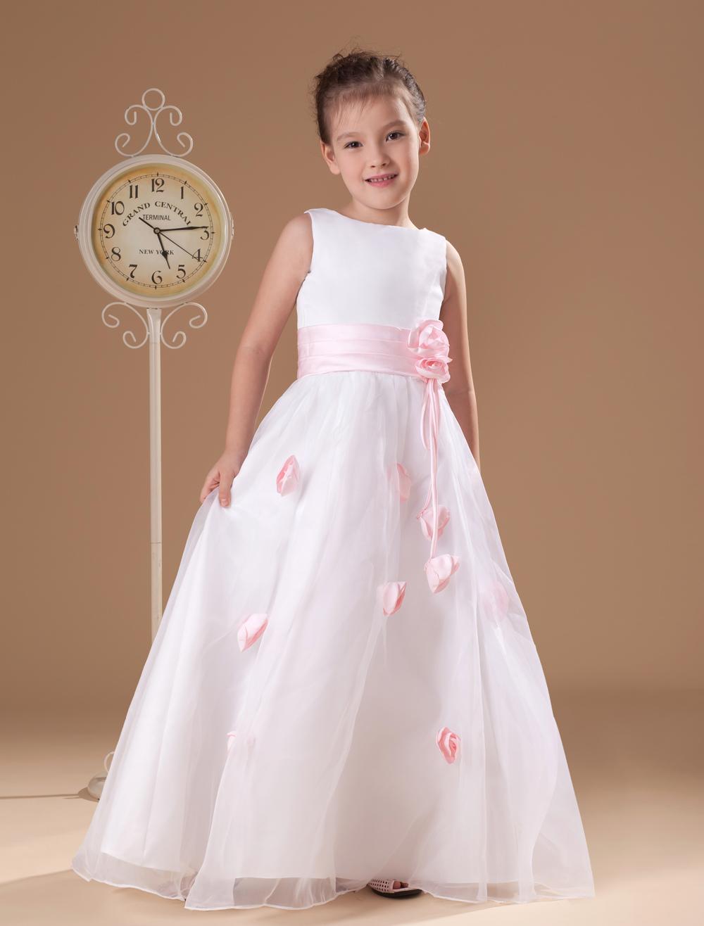 White Flower Girl Dress Flowers Sash Satin Dress