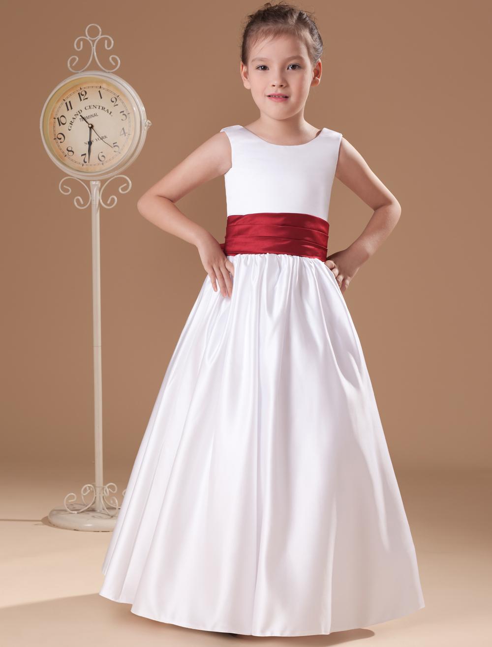 d45d88e6374 ... Beauteous White Sleeveless Sash Bow Satin Flower Girl Dress-No.7. 12.  32%OFF. Color White