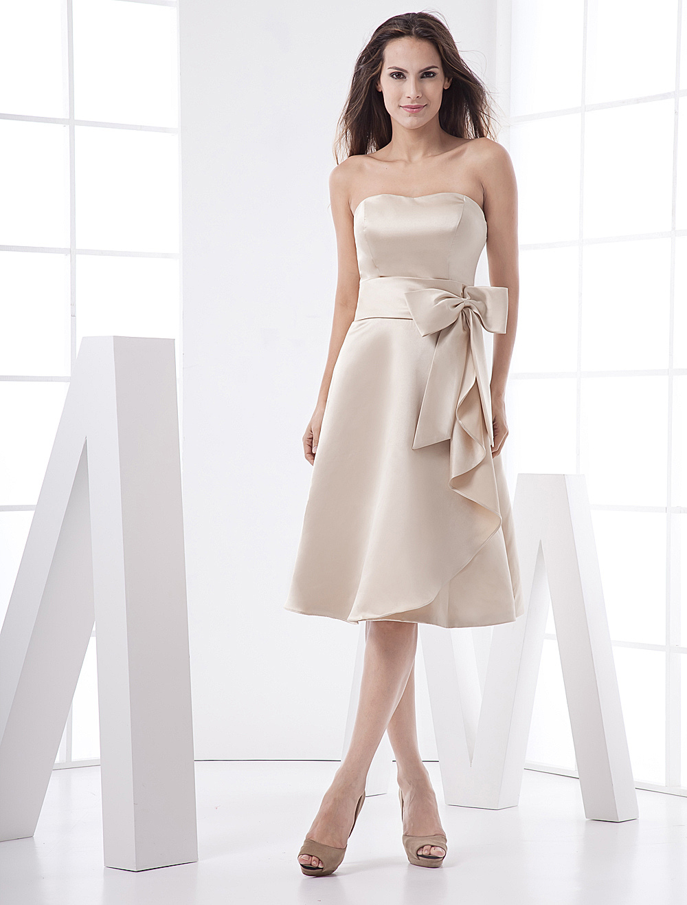 Classic Strapless Sash Bow Tea Length Satin Gold Champagne Bridesmaid Dress