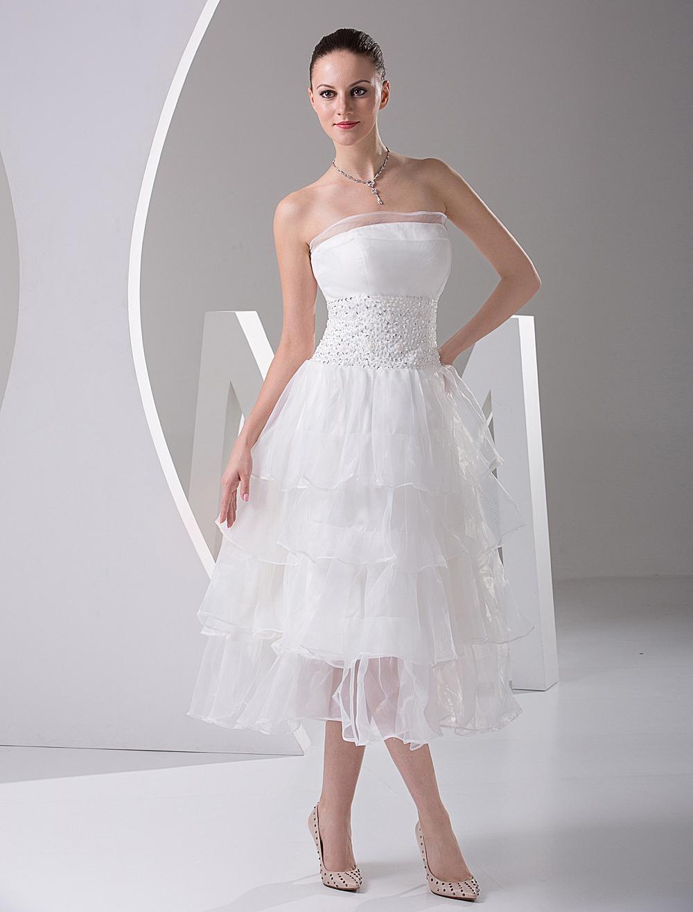 Cute Strapless Multi Layer Satin Mini Wedding Dress