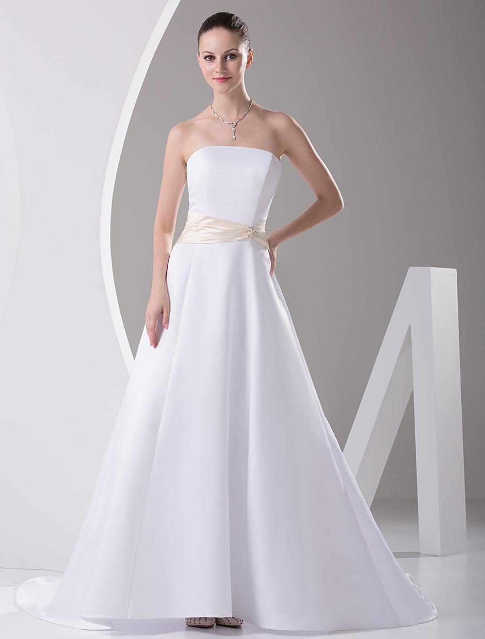 Ivory Strapless Satin Sash Wedding Dress