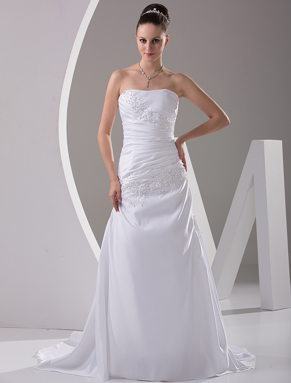 Sheath Strapless Beaded Embroidery Satin Wedding Dress