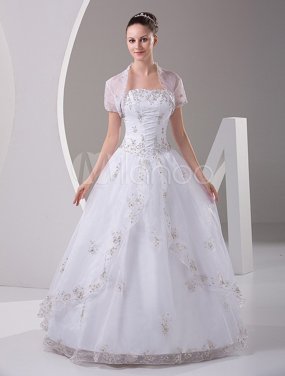 White Quinceanera Dress Strapless Satin Organza Dress