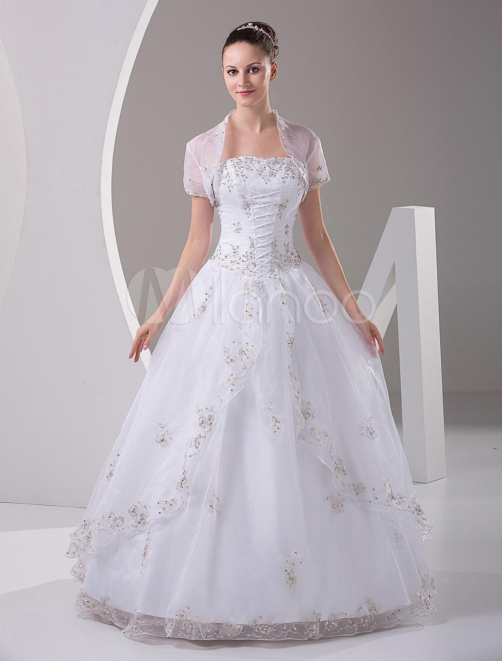 b5e8b56b282 White Quinceanera Dress Strapless Satin Organza Dress - Milanoo.com
