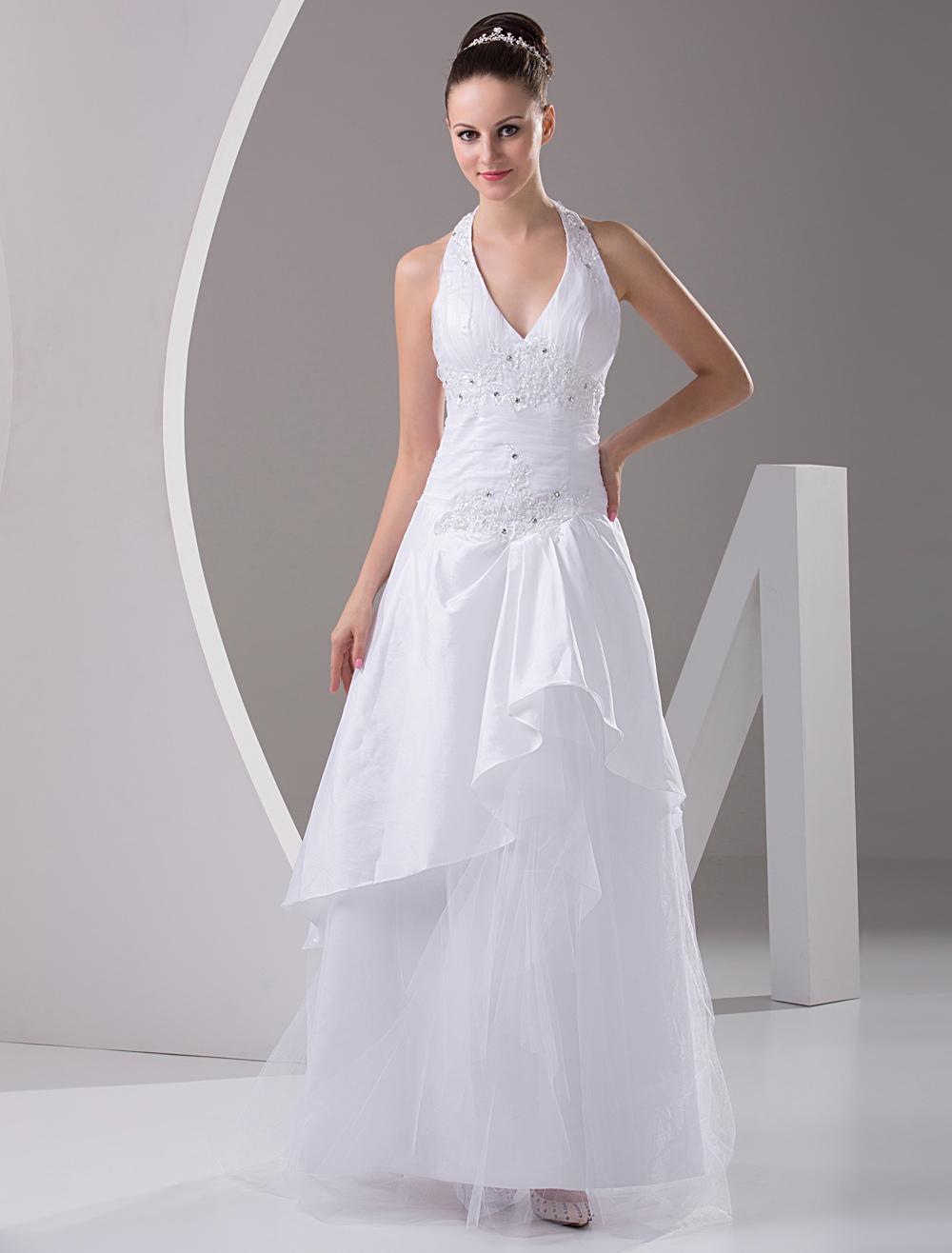 White A-line Halter V-Neck Taffeta Organza Wedding Gown