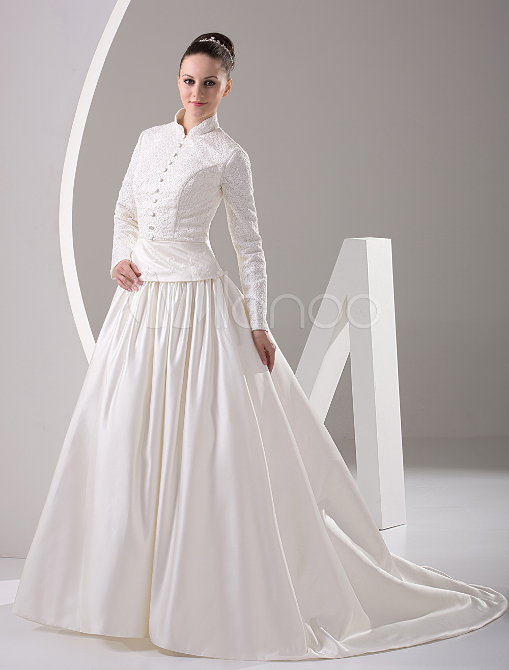 White Long Sleeves Beading Satin Muslim Wedding Dress - Milanoo.com