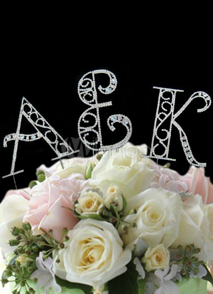 Silver Wedding Cake Toppers Letters Cut Out Wedding Decors