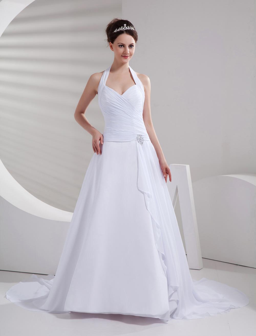 Amazing White Halter A-line Chiffon Sweep Wedding Dress