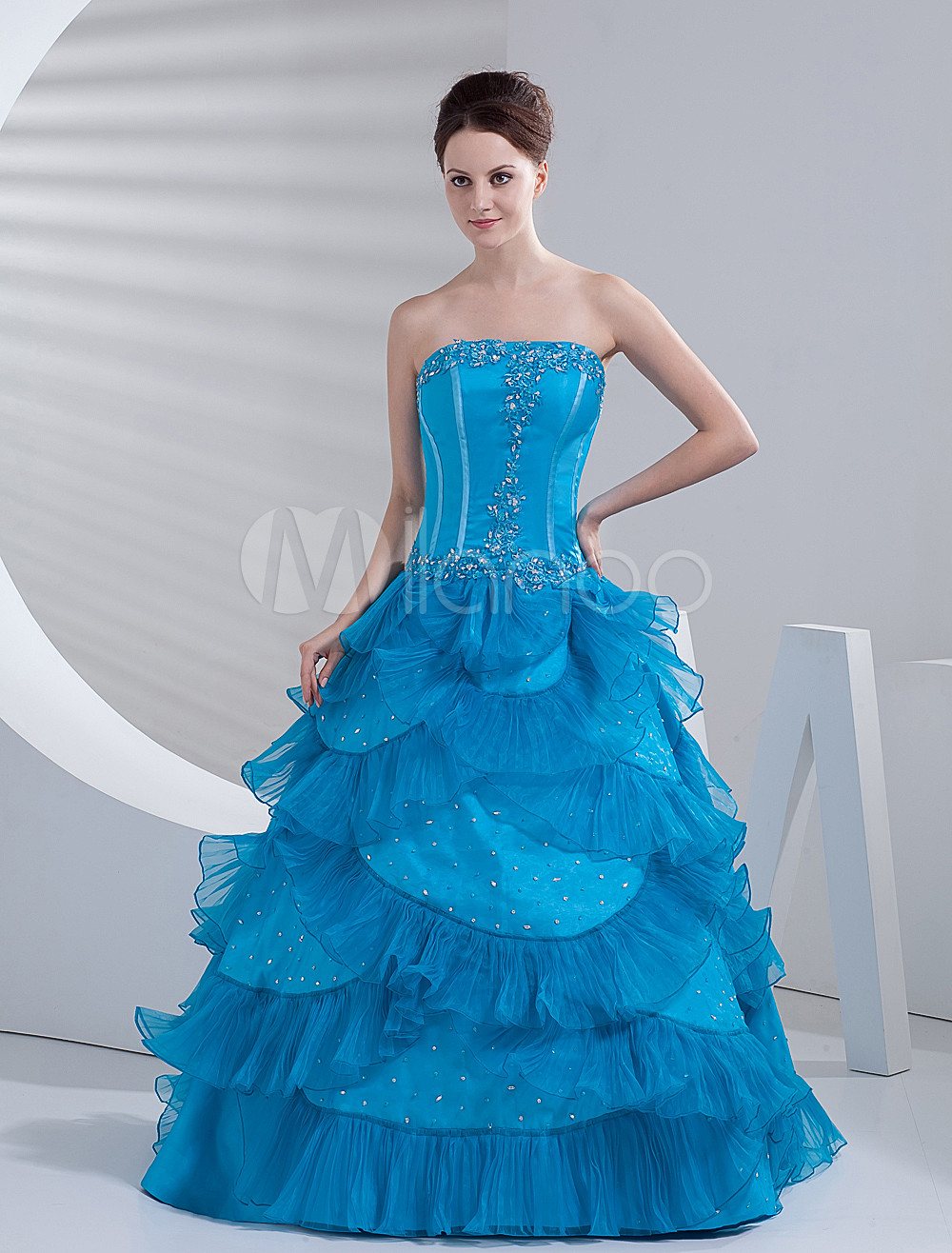Blue Satin Organza Beautiful Women Prom Dress - Milanoo.com