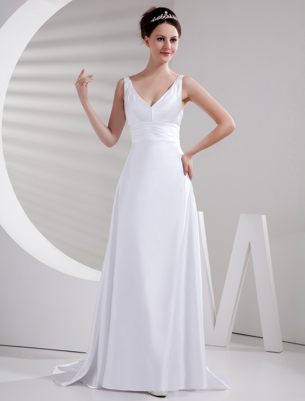 Buy Charming White Sweep Evening Dress with V-Neck A-line Sleeveless Satin for $115.19 in Milanoo store