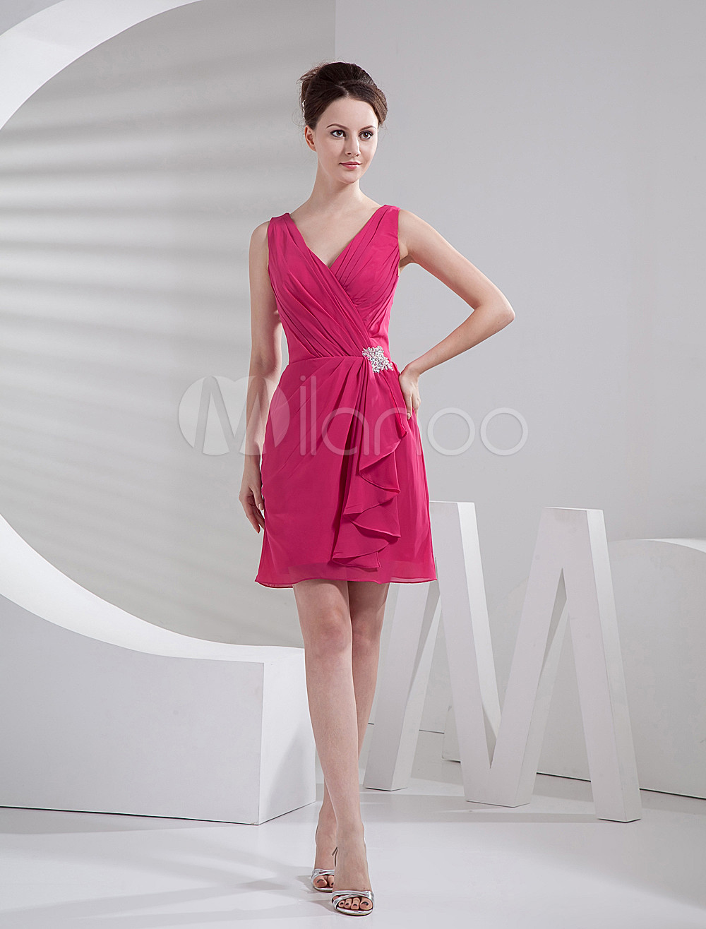 Short Bridesmaid Dress Hot Pink A line V Neck Rhinestone Ruffle ...