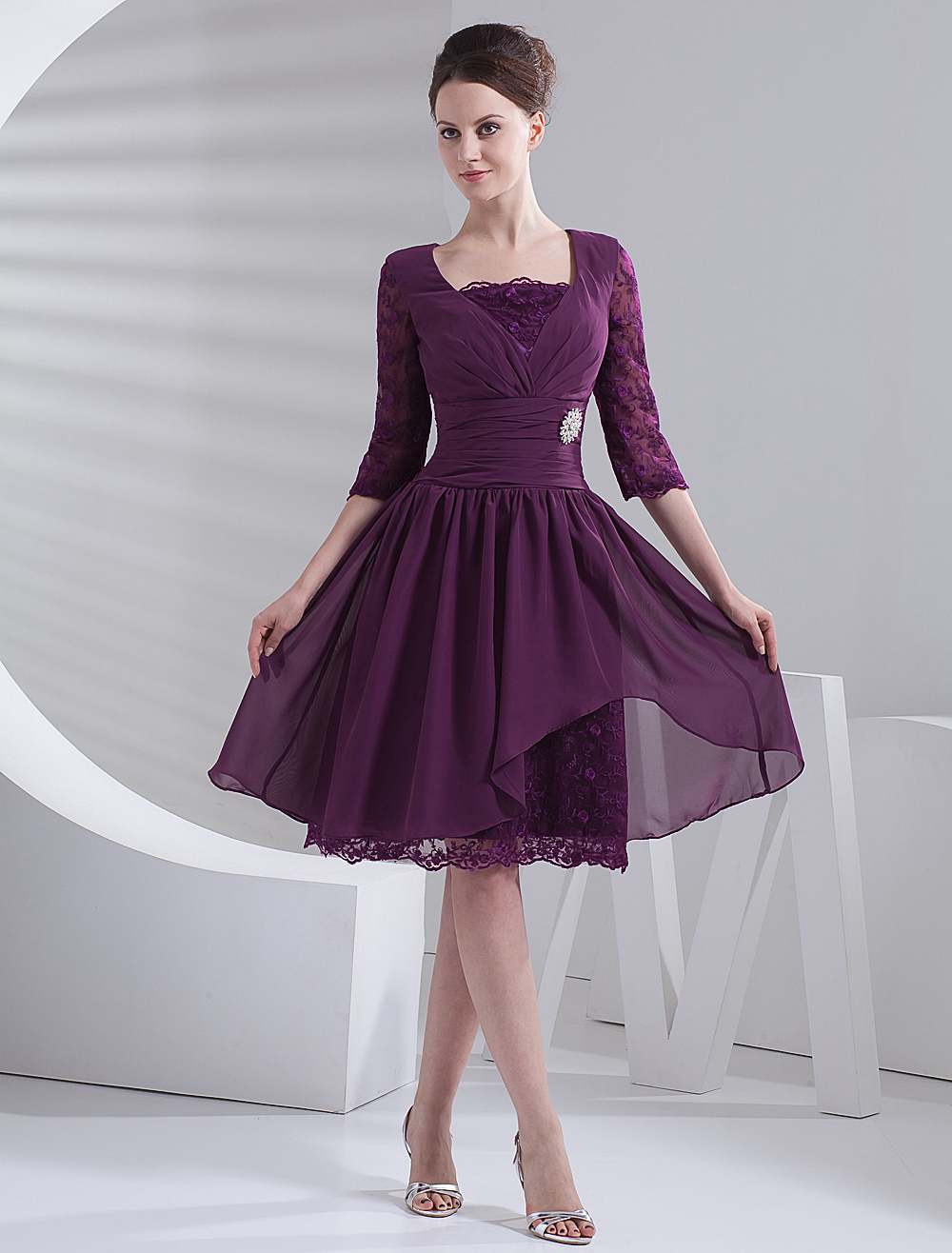Short Purple Prom Dress Half Sleeves - Milanoo.com
