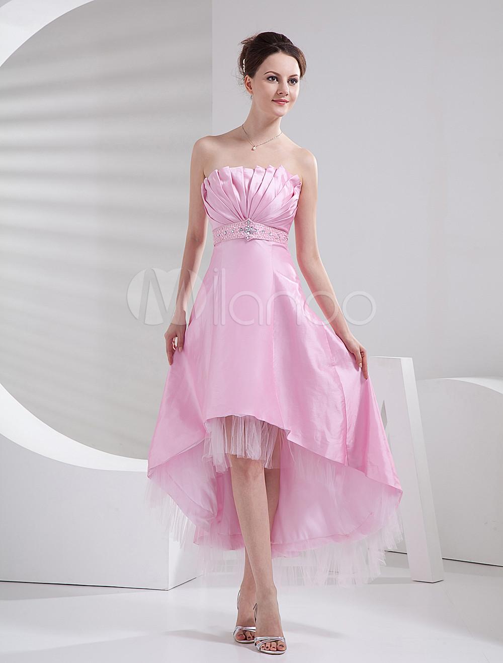 Pink Asymmetrical Hemline A-line Taffeta Net Prom Dress - Milanoo.com
