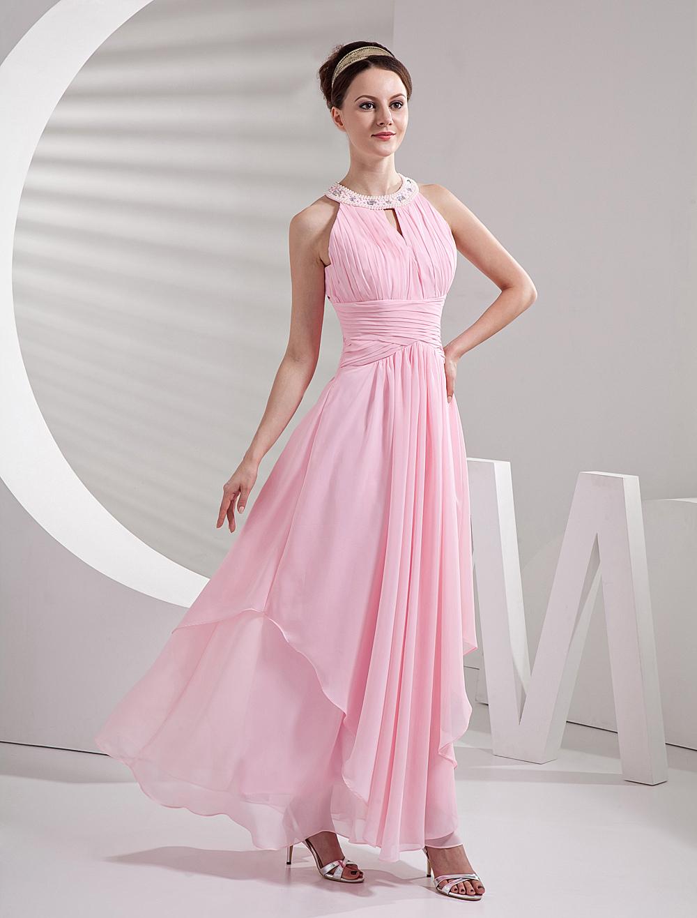Vestido de damas de color de rosa de gasa y de satén de línea A ...