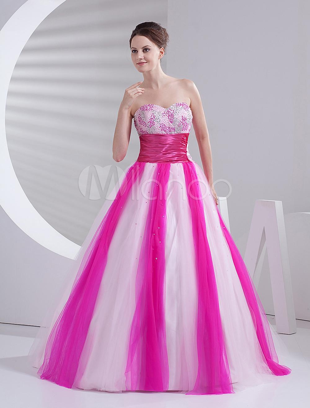 Elegant Ball Gown Pink Tulle Quinceanera Dress - Milanoo.com