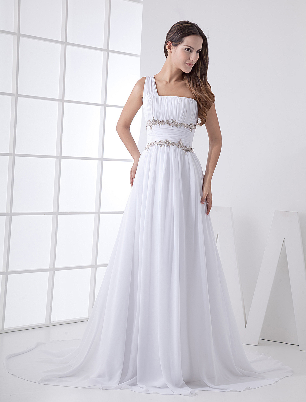 Summer Wedding Dress One Shoulder Chiffon Beaded Lace Up Beach Bridal Gowns