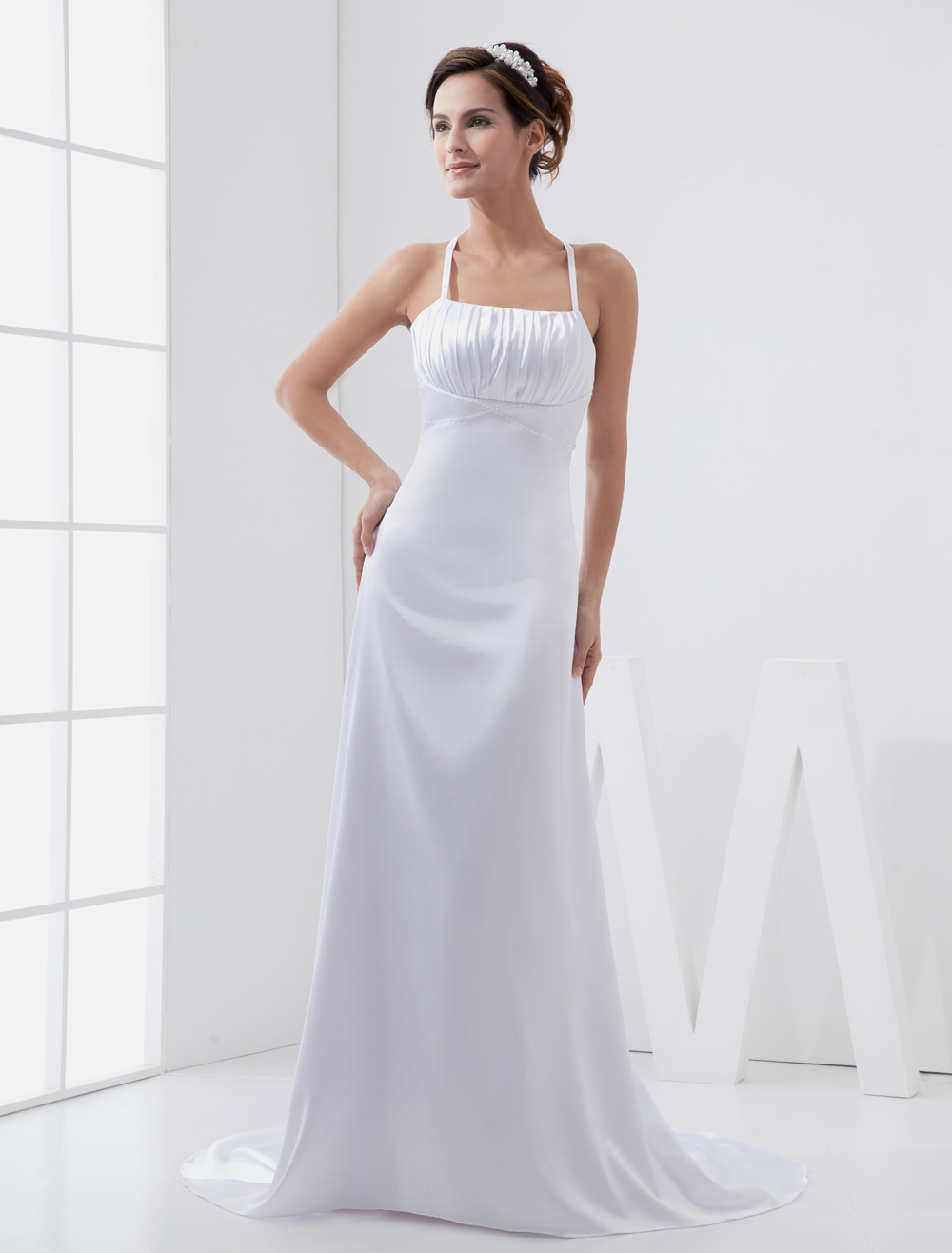 Sweep White Ruched Bridal Wedding Gown with Spaghetti Straps A-line