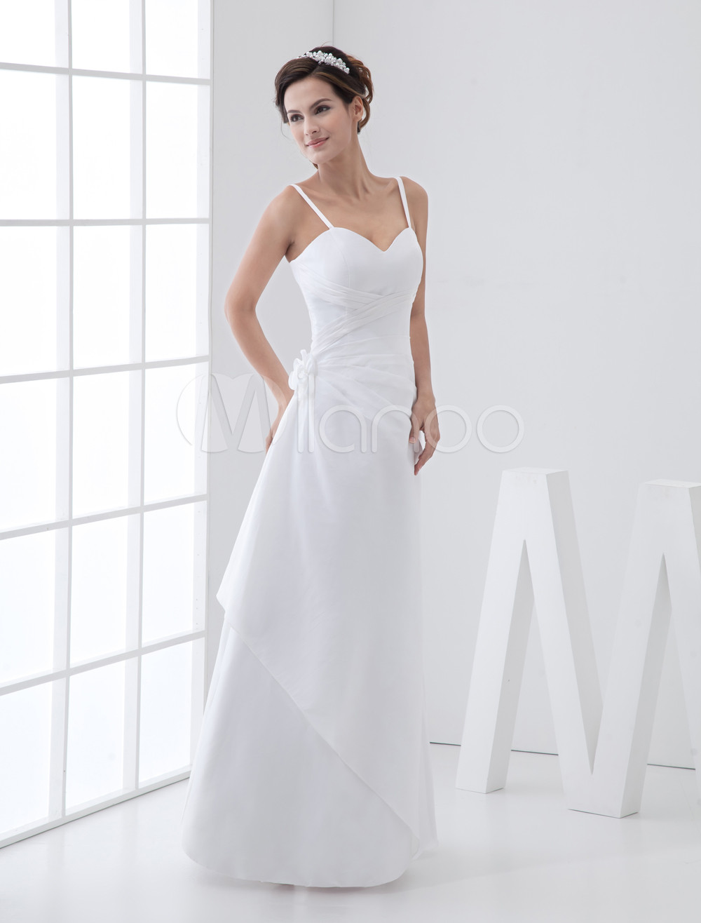 White Ruched A-Line Straps Taffeta Wedding Gown