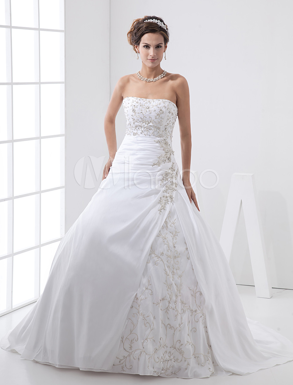 A Line Strapless Taffeta Lace Wedding Dress