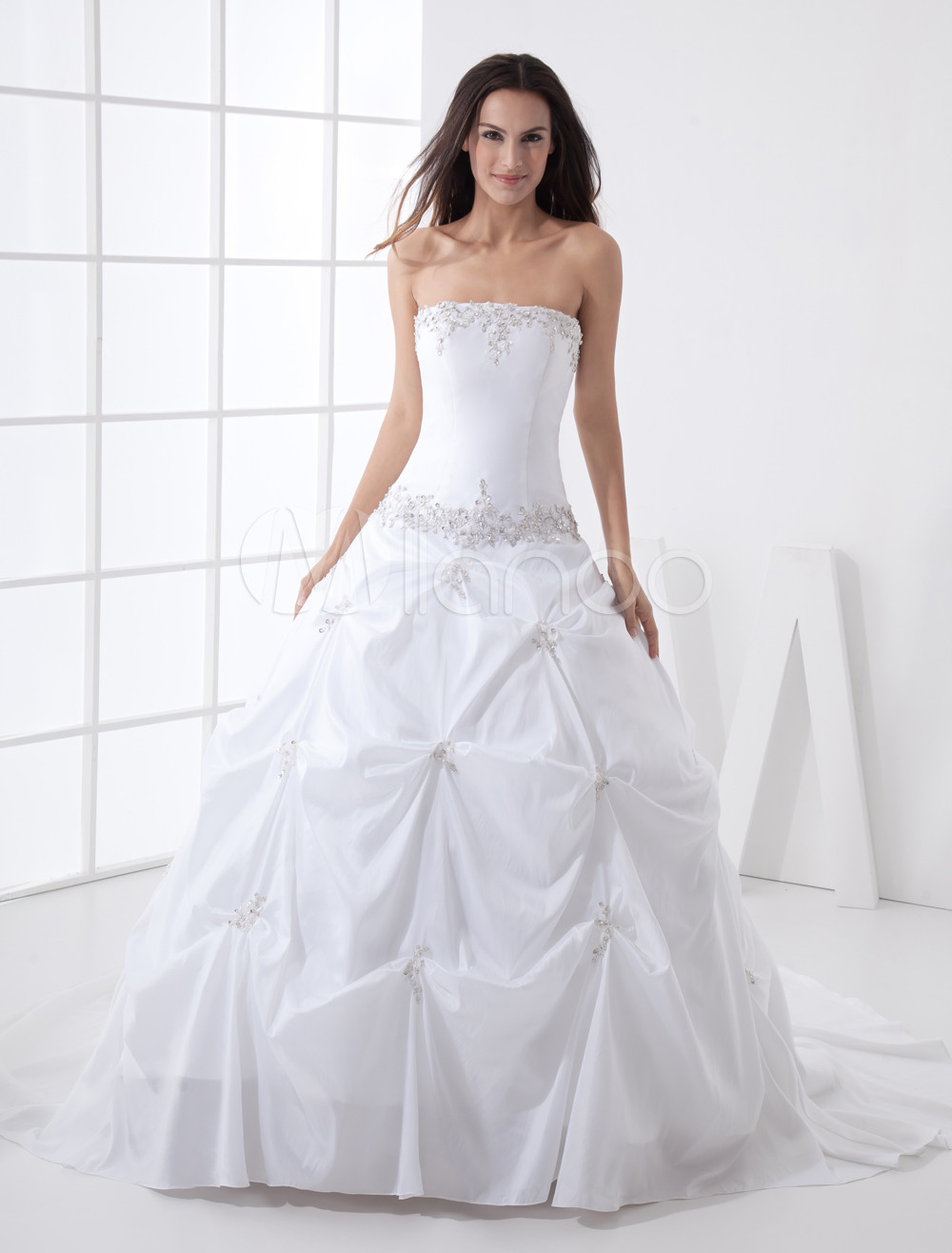 Ball gown strapless beading taffeta wedding dress for Strapless taffeta wedding dress
