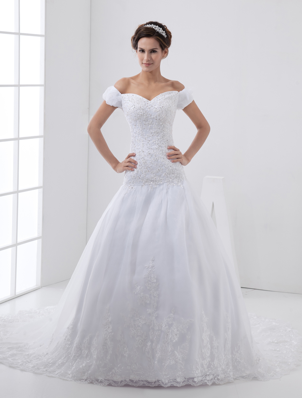 White Off The Shoulder A Line Lace Organza Wedding Dress
