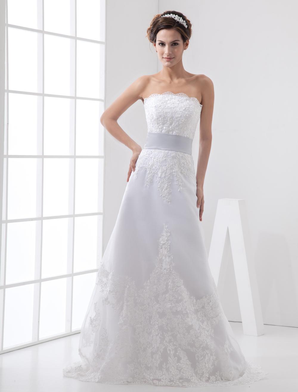 Beaded Satin Organza Wedding Dress