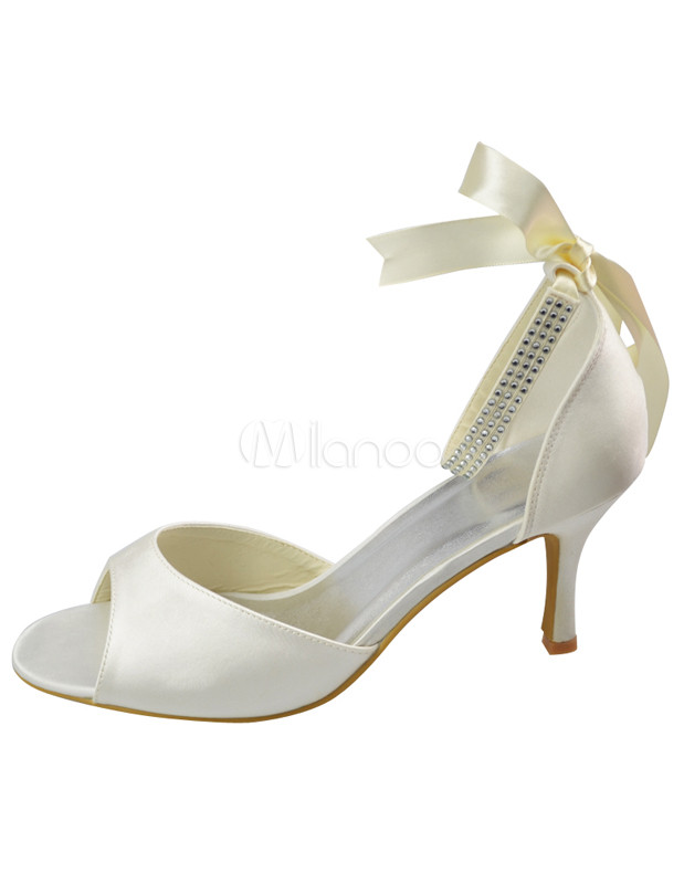 Ivory Ankle Strap Open Toe Bridal Shoes No.1 ...