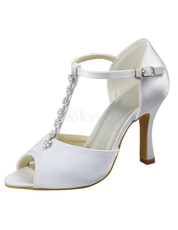 Ivory Satin Beaded Wedding Sandals