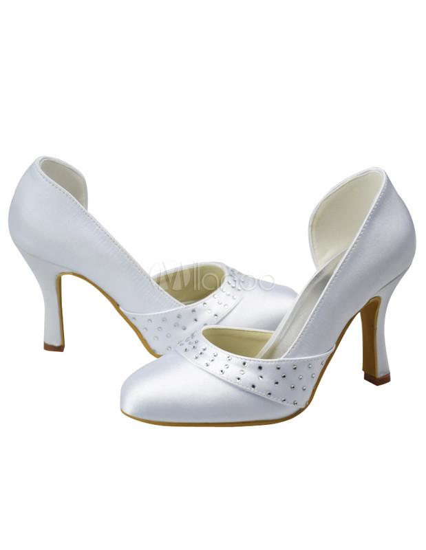 wei e damen brautschuhe mit kunstdiamanten und high heels in wei. Black Bedroom Furniture Sets. Home Design Ideas