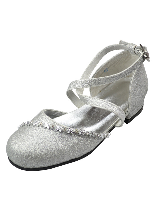 Silver Faux Leather Ankle Strap Rubber Sole Flower Girl ...