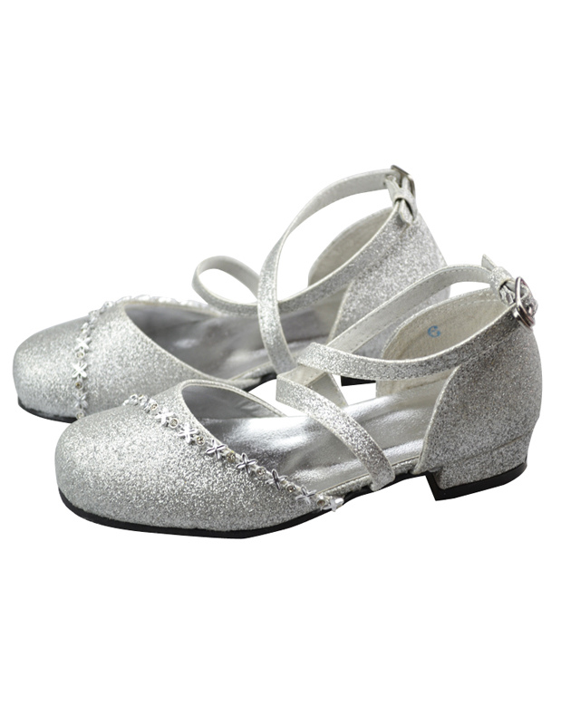 Silver Faux Leather Ankle Strap Rubber Sole Flower Girl Shoes ...