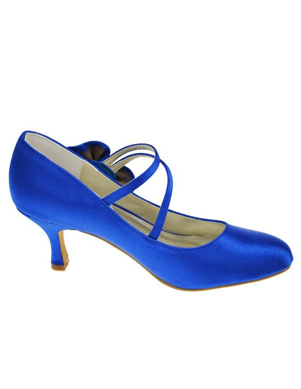 ... Blue Bow Round Toe Satin Wedding Shoes No.4 ...