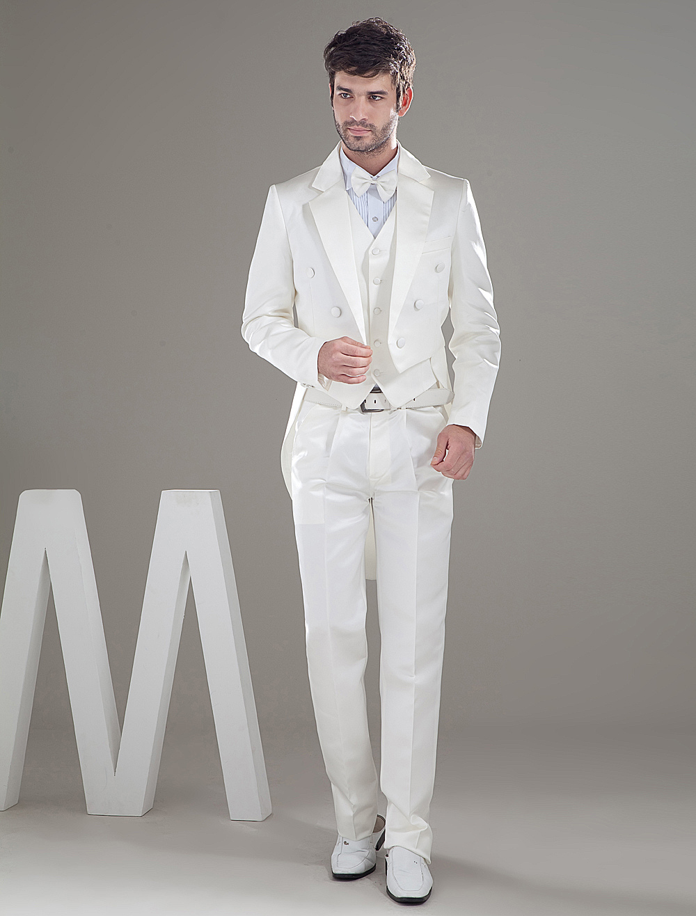Ivory Lapel Double Breasted Button Worsted Groom Wedding Tuxedo
