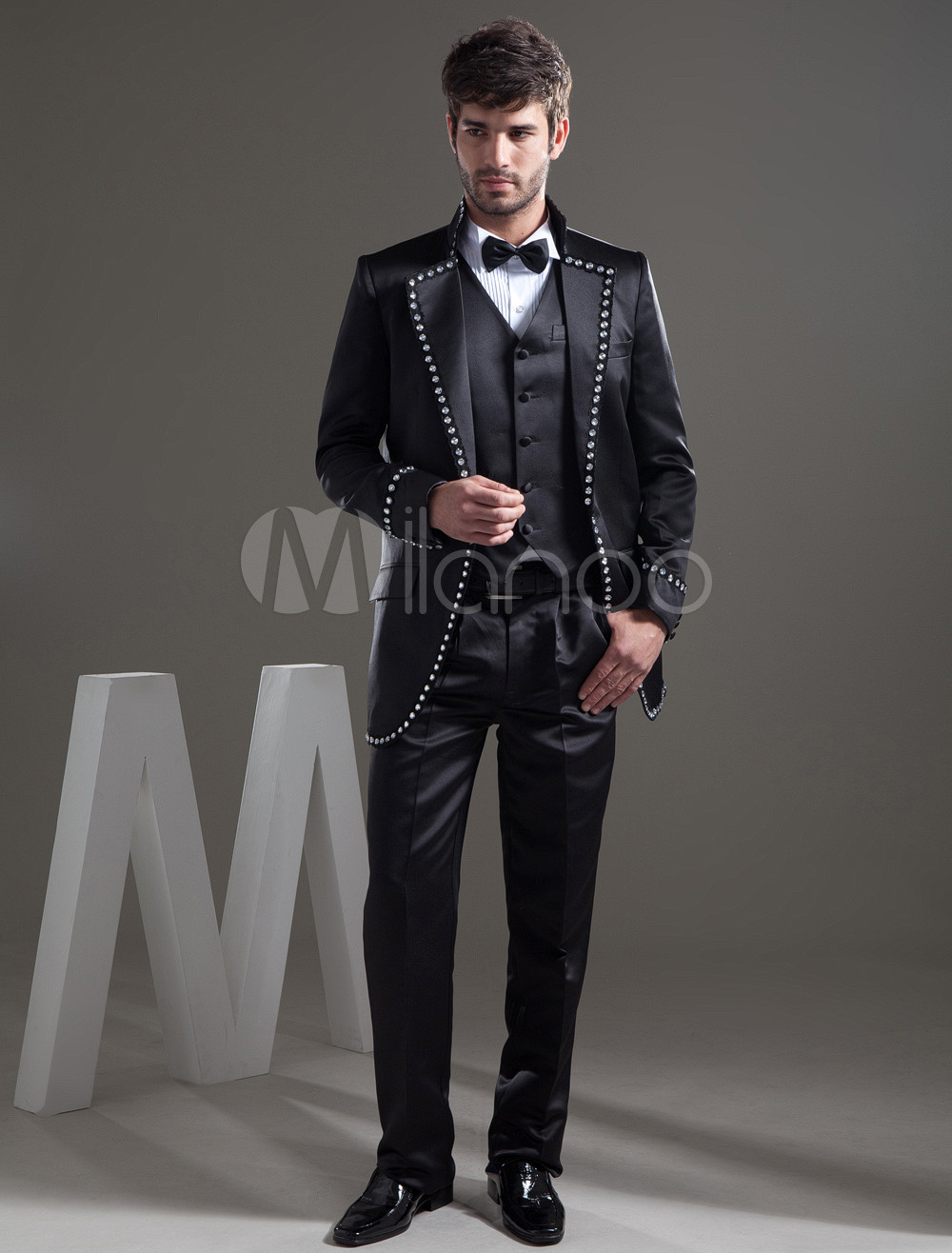 Beaded Side Pockets Men\'s Wedding Suit
