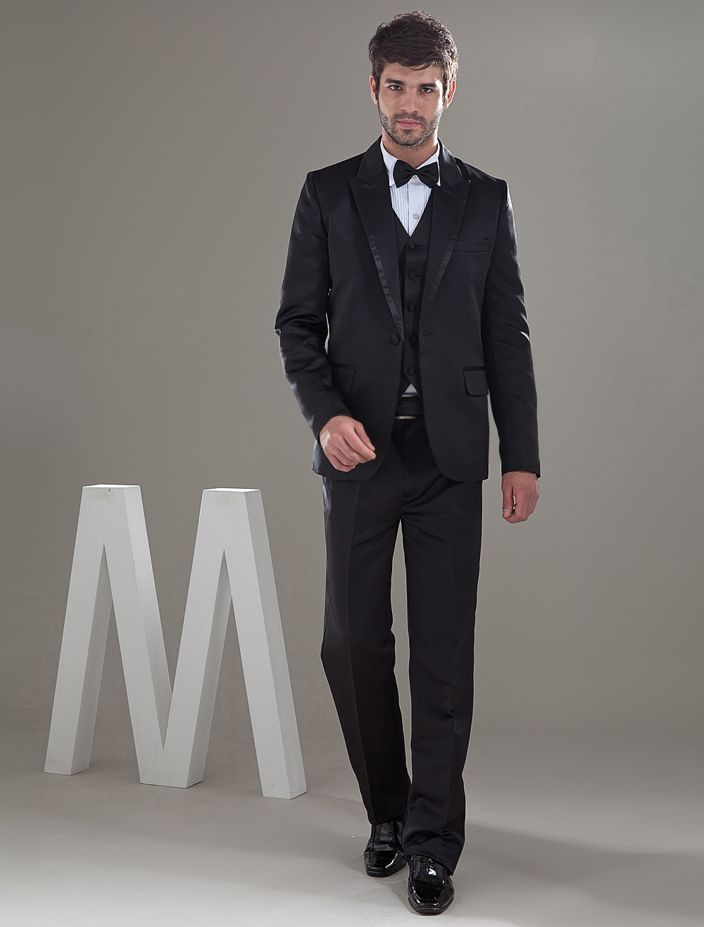 Buy Black One Single Button Worsted Groom Wedding Tuxedo for $179.99 in Milanoo store
