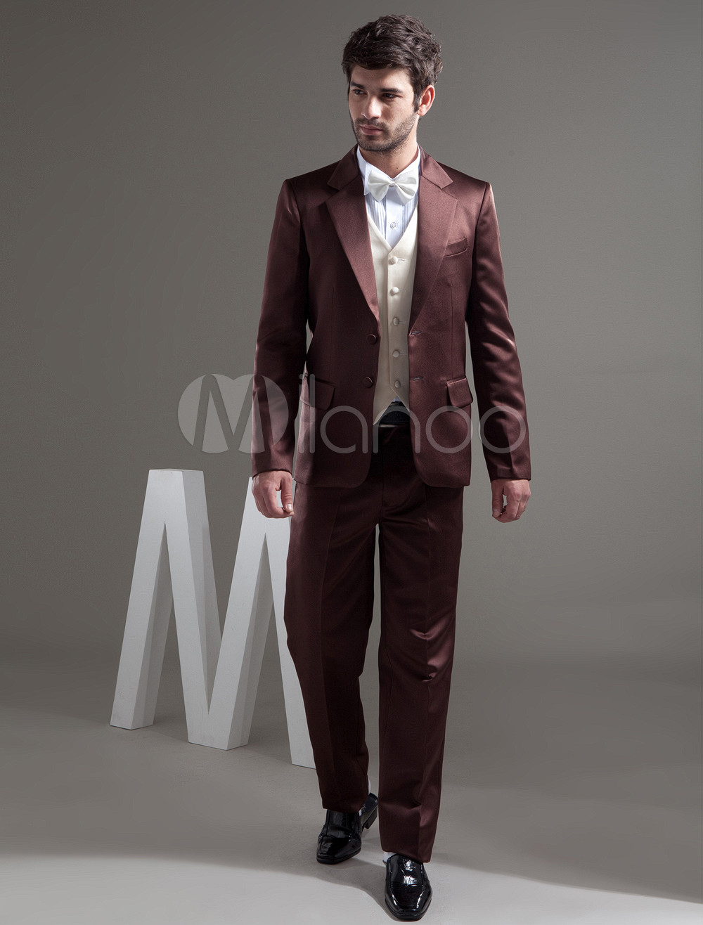 Buy Brown Single Breasted Button Worsted Groom Wedding Tuxedo for $159.29 in Milanoo store