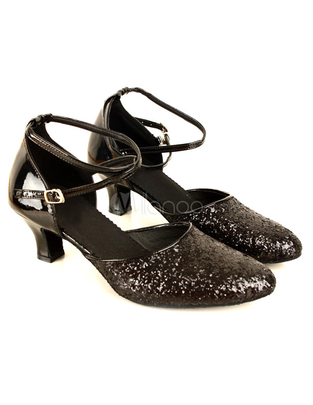 Black Latin Dance Sandals Glitter Ballroom Heels for Women