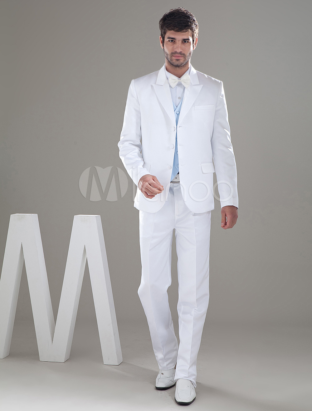 Formal White Single Breasted Button Lapel Worsted Groom Wedding Tuxedo