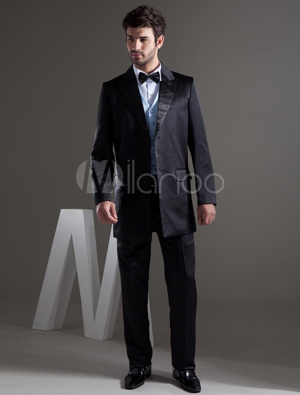 d9fd5432d6542 新郎スーツ メンズフォーマル サテンファブリック 男性用 ブラック チョッキ&パンツ&ジャケット - Milanoo.jp