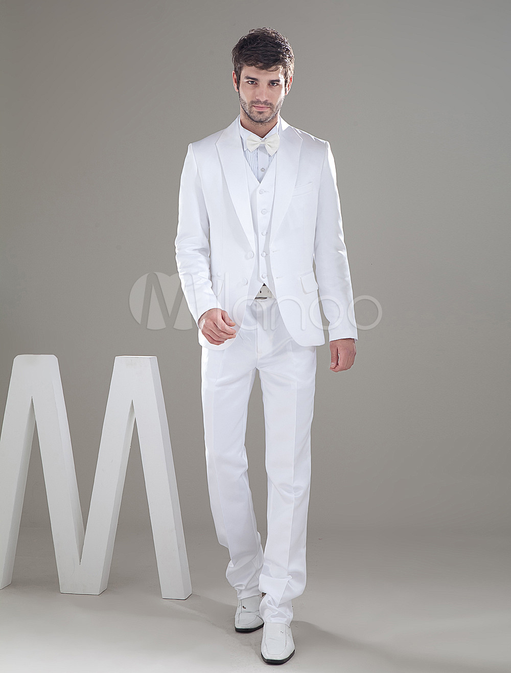 Buy Handsome White Single Breasted Button Worsted Groom Wedding Tuxedo for $149.39 in Milanoo store
