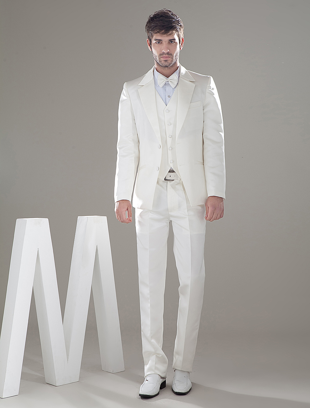 Buy Ivory Lapel Satin Groom Wedding Tuxedo for $159.29 in Milanoo store