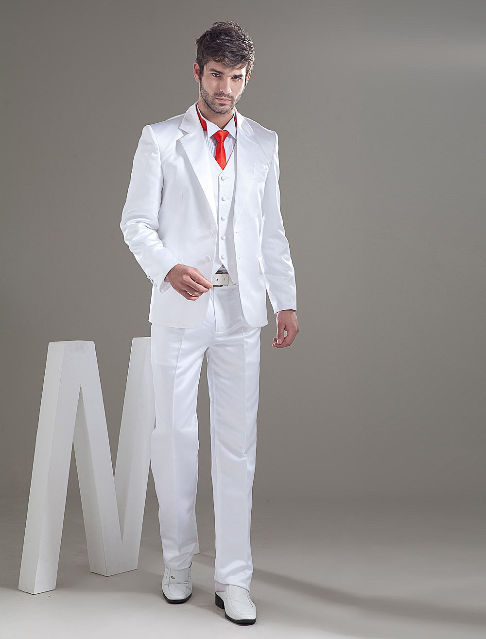 Buy Romantic White Besom Pockets Groom Wedding Tuxedo for $119.99 in Milanoo store