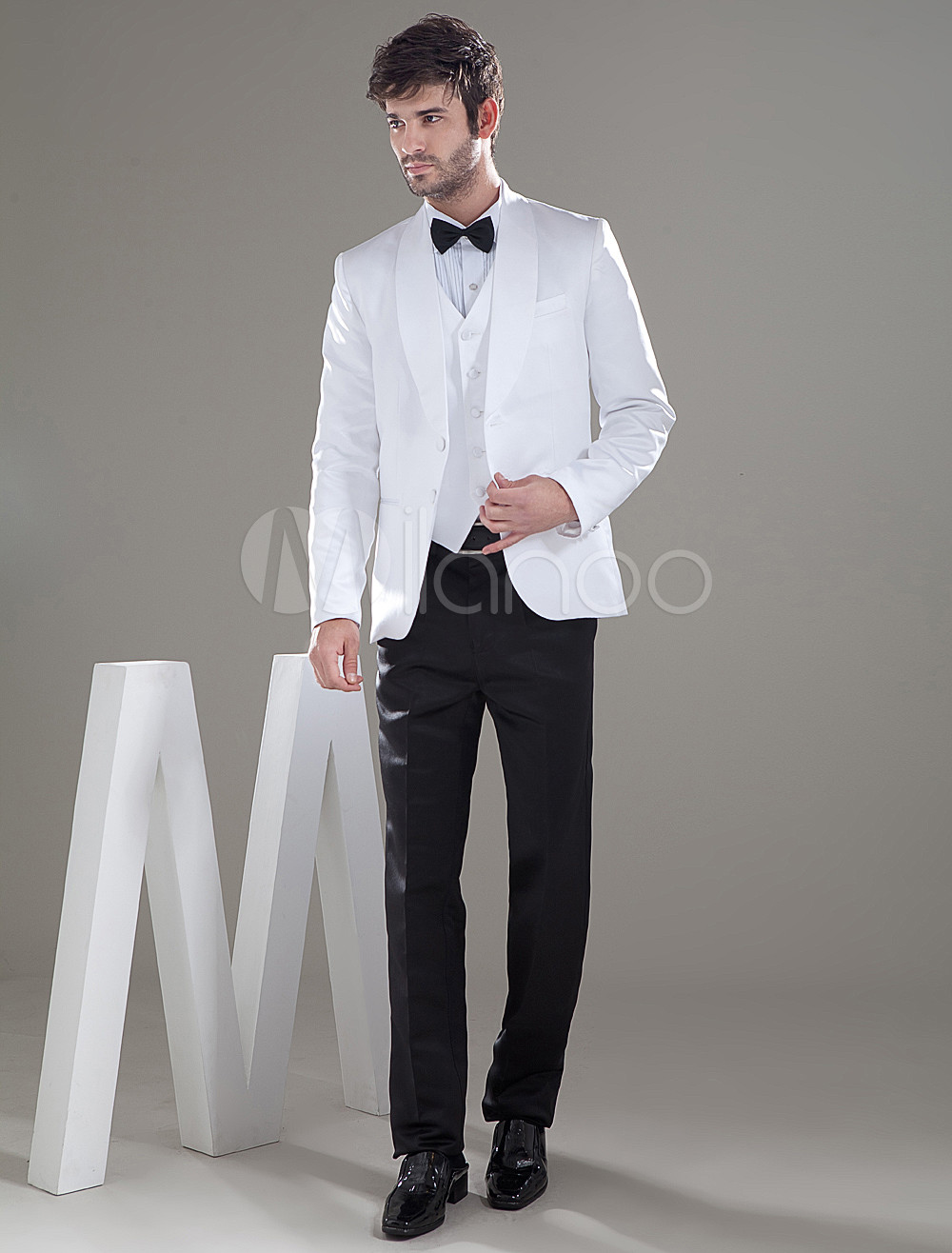 Slim Two Buttons Worsted Groom Wedding Tuxedo